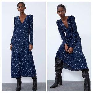 Zara Navy Blue Polka Dot Midi Dress XS Long Sleeve
